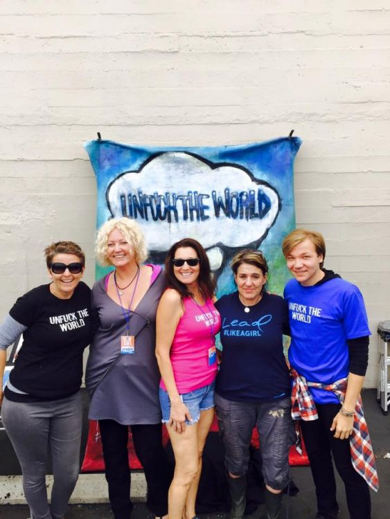 Valda Lake, owner of Wallspace L.A., UTW Day creator Maike Both, UTW Day L.A. team member Denise Grisco, Laundry Love rep Kat green and volunteer Alex Arefyev