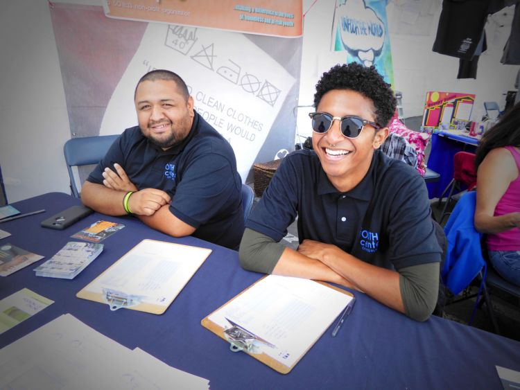Omar (left) and Stacy (right) representing the Youth Center on Highland